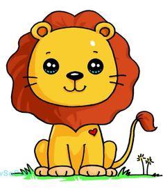 Pin do(a) linda mónica em desenhos рисунок, милые рисунки e рисунки Easy Animal Drawings, Cute Food Drawings, Cute Little Drawings, Kawaii Girl Drawings, Cute Animal Drawings Kawaii, Cartoon Drawings, Cute Kawaii Girl, Cute Kawaii Animals, Lion Drawing
