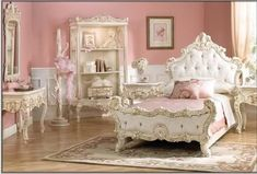 Pink Victorian Bedroom Pretty victorian style pink bedroom. via korina hinojos