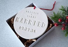Married Ornament Wedding Gift Bridal Shower Gift or by Susabellas #marriedornament