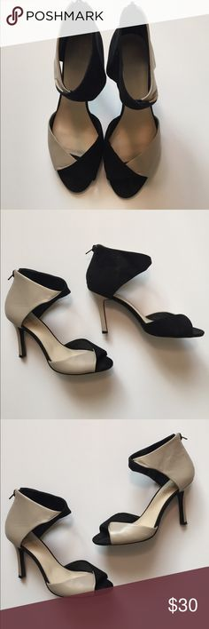 Nine West Taupe and Black Colorblock Heels 4 inch heels with zipper back closure. Size 6. Great condition! Minor wear to soles. Some light wear to footbed but outside of shoes look almost new! Leather and textile blend. Taupe is leather, black is a faux suede material. Nine West Shoes Heels
