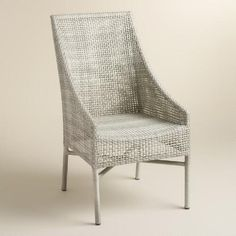 "Rustic Gray All Weather Wicker Serasa Dining Chairs Set of 2 | World Market $360 22""w x 26""d x 39.5""h"