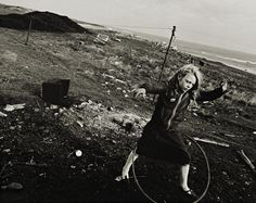 cyranohs: melisaki: Helen and her hoola-hoop, Seacoal Camp, Lynemouth, Northumberland, 1984, Chris Killip
