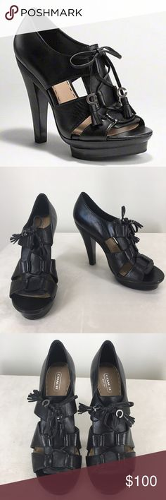 """Coach 'Teagan' Gladiator Platform Heels Brand new, never worn!!!  Intensely fashionable black gladiator heel with great detailing and premium Coach leather. Soft leather or shimmer leather 4.75"""" heel with .5"""" platform (12.1cm). Signature coach 'C' with tassel on end of ties. Leather is beautiful soft Coach quality! (does not come with box).   Size-10B Heel height-4 3/4"""" Platform height-1/2"""" Coach Shoes"""