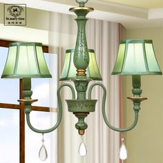 Shengmadinuo hand-painted French American country chandelier retro Mediterranean living room bedroom restaurant garden green lig
