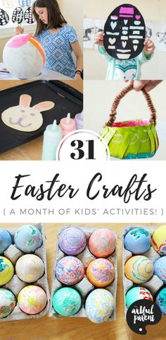 31 Easter Crafts for Kids (Easy and Fun Easter Crafts and Activities!) - Looking for ideas for Easter crafts for kids? Here are 31 Easter egg decorating ideas, arts and cra - Crafts For Kids To Make, Crafts For Girls, Art For Kids, Kids Crafts, Easter Arts And Crafts, Arts And Crafts Projects, Art Activities For Kids, Easter Activities, Childcare Activities