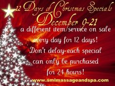 SML Massage and Spa - 12 Days of Christmas Specials Ends Tomorrow!