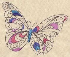 Doodle Butterfly | Urban Threads: Unique and Awesome Embroidery Designs  Beautiful! These are machine embroidery patterns - for sale.