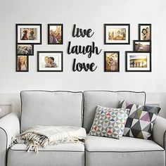 "WallVerbs® ""Live Love Laugh"" Photo Frame Set Related posts:Gray sectional, shag rug, family wall collageBird Silhouette Art ORIGINAL PAINTING 3 Piece Wall Art Canvas Art 3 Pieces Wall Decor Birds Silhouet. Family Wall Decor, Photo Wall Decor, Wall Decor Design, Wall Decor Pictures, Room Wall Decor, Living Room Decor, Bedroom Decor, Pictures For Walls, Picture Wall Living Room"