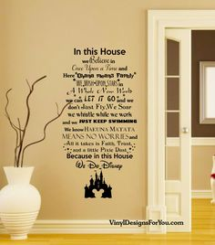 In this House We do Disney Wall Decal with Mickey Mouse Castle-Disney Wall Quotes-Wall Vinyl Decal-Wall Decor-Wall Art-Wall Words & We Do Disney Vinyl Wall Art Quote Decal Sticker Sign | Pinterest ...