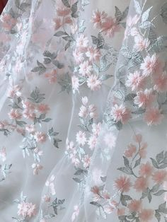 Pink/Silver Mixed Embroidered Flowers Lace on white tulle fabric for bridal gowns, prom dress, flowe Bridal Wedding Dresses, Lace Weddings, Bridal Lace, Wedding Lace, Floral Flowers, Fabric Flowers, Floral Lace, Fabric Beads, Tulle Fabric