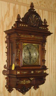 WOW this clock is impressive. It is a Lenzkirch quarter hour strike wall clock. Unusual Clocks, Cool Clocks, Mantel Clocks, Digital Clocks, Wooden Clock, Antique Clocks, Antique Photos, Grandfather Clocks, Antiques