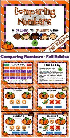 "Practice comparing numbers with this fun student vs. student game. Student are given 2 numbers, each on a pumpkin and they must choose their answer by clicking ""greater than"", ""less than"" or ""equal to"". Play up to 4 teams. There are 20 questions and you just click on each question to go to it. There is a type-in scoreboard.  The scoreboard can be typed in during Slideshow Mode. Great for a guided math center or rainy day activity."