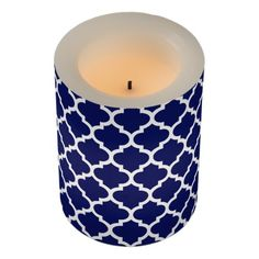 Navy Blue White Moroccan Quatrefoil #5 Flameless Candle