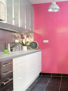 Happy Pink accent wall in a modern kitchen.