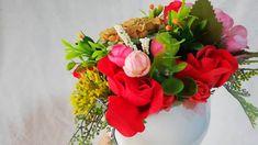 Aranjament cu flori de sapun(floarea soarelui si trandafiri) in vas ceramic Planter Pots, Handmade, Hand Made, Handarbeit