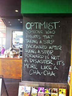 It's ok to take a step back. Life is just a cha-cha.