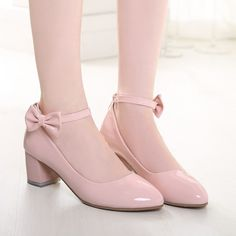 Women Pumps Ankle Straps Medium Heel Bowtie Patent Leather Shoes Woman – Shoeu Source by danaehevarria de mujer para vestido Pretty Shoes, Cute Shoes, Me Too Shoes, Pink Shoes, Girls Shoes, Shoe Boots, Shoes Heels, Kawaii Shoes, Lolita Shoes