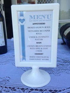 menu for our backyard rehearsal dinner in an ikea picture frame Dinner Menu Boards, Vietnamese Rice Paper Rolls, Rehearsal Dinner Menu, Ikea Picture Frame, Ikea Pictures, Cheese Dessert, Antipasto Platter, Happy Love, Love Eat