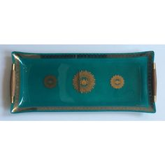 SOLD Turquoise & Gold Georges Briard Tray #huntersalley