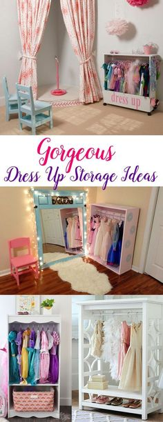 Fun dress up storage ideas for girls to organize dress up outfits, princess dresses and accessories - Mommy Scene