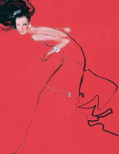 Dark Haired Beauty - Fashion illustrations by David Downton