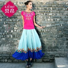 LIEBO 2014 spring summer new contrast color Chinese national embroidery elegant fashion slim fit women skirts hot sale $152.00
