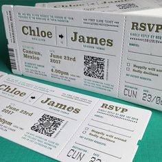 We just created the PERFECT invitation for a destination wedding! Featuring multi-coloured letterpress and a custom air-line ticket shape. #jukeboxprint #destination #wedding #invitations #letterpress