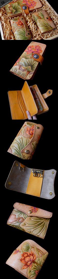 Handcraft hand painting lotus flower leather long/keys/card wallet for   EverHandmade