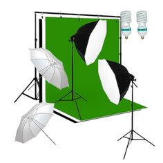Studio Photography Video Lighting and Background Kit W/ Muslin Backdrops, Silver