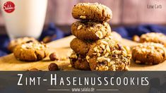 Haselnuss Cookies - Low Carb - Rezept von Low Carb Mit Vroni und Nico Tonka Bohne, Cereal, Breakfast, Youtube, Food, Videos, Cinnamon, Sugar, Simple