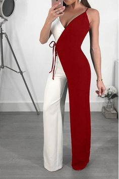 Shop Contrast Color Spaghetti Strap Wrapped Wide Leg Jumpsuit right now, get great deals at Joyshoetique. Shop Contrast Color Spaghetti Strap Wrapped Wide Leg Jumpsuit right now, get great deals at Joyshoetique. Classy Outfits, Chic Outfits, Work Outfits, Summer Outfits, Evening Outfits, Classy Casual, Blazer Outfits, Classy Chic, Party Outfits