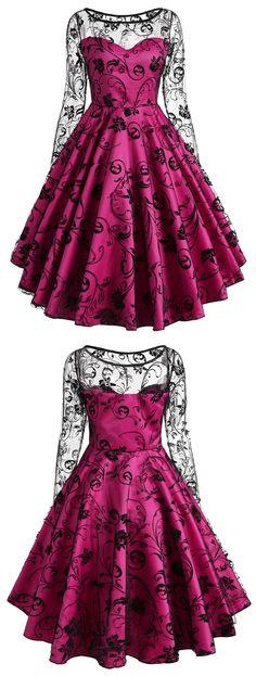 Vintage Long Sleeve Lace Overlay Dress