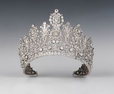 Grand Diadem (aka Empire Tiara) of Luxembourg, ca. - Worn by Grand Duchess Charlotte at her wedding to Prince Felix of Bourbon-Parma, time princess tiara Crown Royal, Royal Crowns, Royal Tiaras, Tiaras And Crowns, Ice Crown, Royal Jewelry, Fine Jewelry, Silver Jewellery, Unique Jewelry