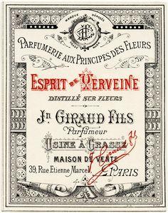 OldDesignShop_FrenchLabelGiraudFilsEsprit Free freebie vintage printable French perfume label