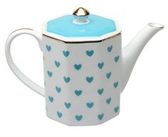 Our porcelain Turquoise Heart Teapot is 14K gold trimmed and holds 3 cups.