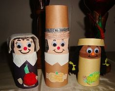 Cardboard Tube Pilgrims and Indians. Made these with my daughter. ♥