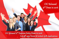 CIC Released 2nd Draw of Canada Express Entry on this Year 2016 where the Cutoff 453 Points & Total 1518 Applications Invited to apply for Canadian PR & its depending on CRS Score.
