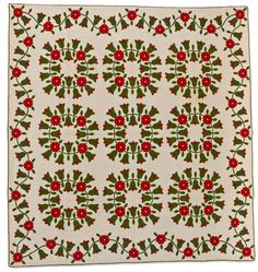 Rose Wreath, about 1850, Kentucky. 101 x 95 in. Collection of Eleanor Bingham Miller; The Speed Art Museum.  Beginning in the 1840s, quilts that combined white backgrounds with designs (usually floral) in red and green became increasingly popular.