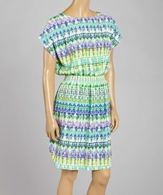 Another great find on #zulily! Green Geometric Cape-Sleeve Dress by Jessica Howard #zulilyfinds
