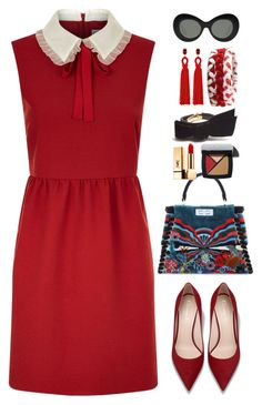 """Red Dress"" by gicreazioni ❤ liked on Polyvore featuring RED Valentino, Fendi, Miu Miu, Oscar de la Renta, Elizabeth and James and Yves Saint Laurent"