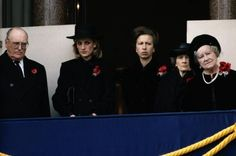 1984-11-11 Diana on the balcony of the Cenotaph in Whitehall during the Remembrance Sunday Ceremony, with King Olav of Norway, Princess Anne, Princess Alice, Duchess of Gloucester, and the Queen Mother