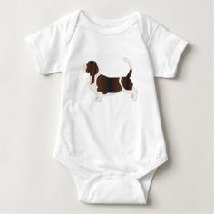 Basset Hound Dog Breed Silhouette Illustration Baby Bodysuit