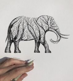 Striking Pen and Ink Drawings Illustrate the Human Connection to Nature Pencil Art Drawings, Art Drawings Sketches, Easy Drawings, Animal Drawings, Easy Nature Drawings, Alfred Basha, Art Inspiration Drawing, Ink Illustrations, Illustration Art
