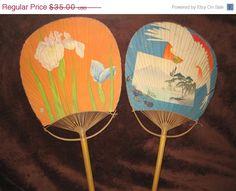 On Sale 20 Off Vintage Japanese Paddle Fans by khloeyskloset, $28.00