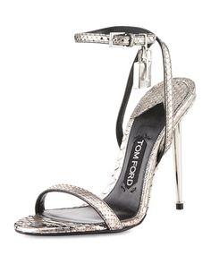 X330Z TOM FORD Lock Ankle-Wrap Python 110mm Sandal, Silver