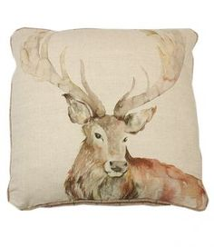 Made in the UK.With it's high quality 100% wool backing and stunning watercolour design, this cushion is the perfect addition to any country home.50 x 50cmFront: 53% Linen 47% CottonBack: 100% WoolDuck feather innerC120512Dry Clean OnlyMatching Stag footstooland floor cushions available.