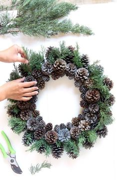 Easy & long lasting DIY pinecone wreath: beautiful as Thanksgiving & Christmas decorations & centerpieces. Great pine cone crafts for fall & winter! - A Piece of Rainbow # Easy DIY wreath Beautiful Fast & Easy DIY Pinecone Wreath ( Impr Pine Cone Decorations, Christmas Decorations, Centerpiece Decorations, Stage Decorations, Holiday Wreaths, Holiday Crafts, Fall Crafts, Easy Fall Wreaths, Noel Christmas