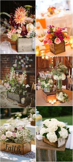 20 ideas de cajas de madera como bases para centros de mesa campestres. #BodasRusticas #rusticweddingcenterpieces