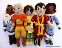 The Aang Gang by ~leftandrightdolls on deviantART ||| Sokka, Toph, Zuko, Katara, Avatar: The Last Airbender, amigurumi, crochet, needle, plush, doll