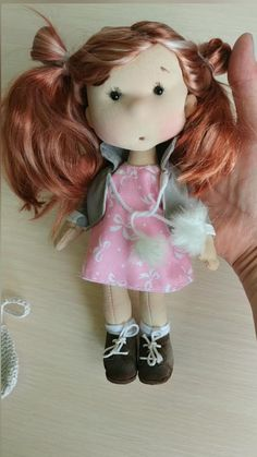 Little Fashion, Cute Toys, Doll Hair, Soft Sculpture, Handmade Toys, Fashion Dolls, Pink Dress, Art Dolls, Doll Clothes